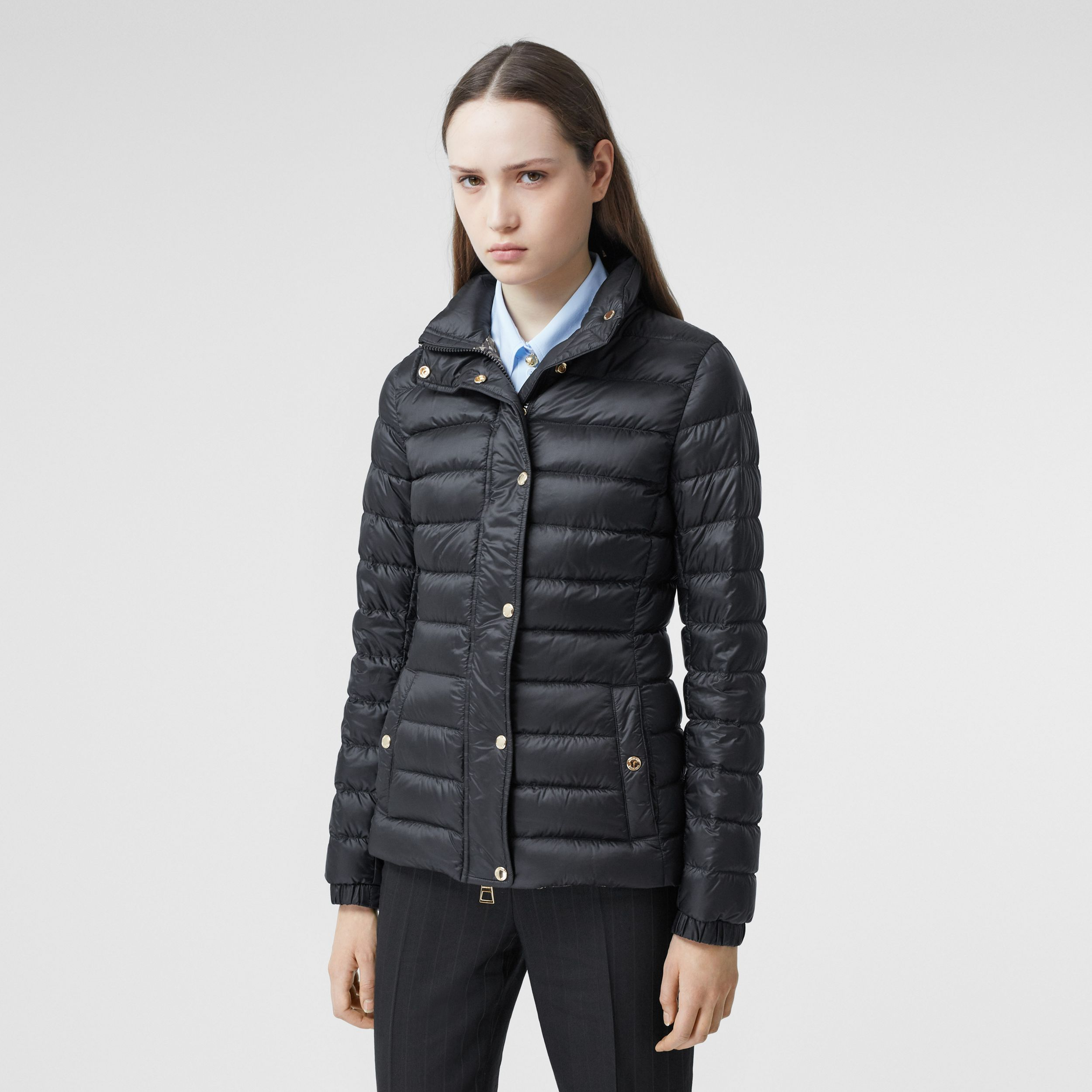 Monogram Print-lined Lightweight Puffer Jacket in Black - Women | Burberry - 1