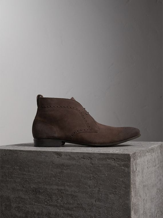 Brogue Detail Suede Desert Boots in Peat Brown - Men | Burberry
