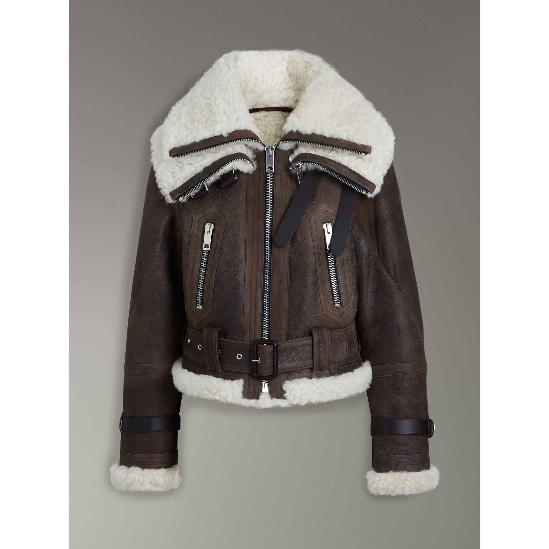 Reissued 2010 Shearling Aviator in Chocolate - Women | Burberry Canada - gallery image 3