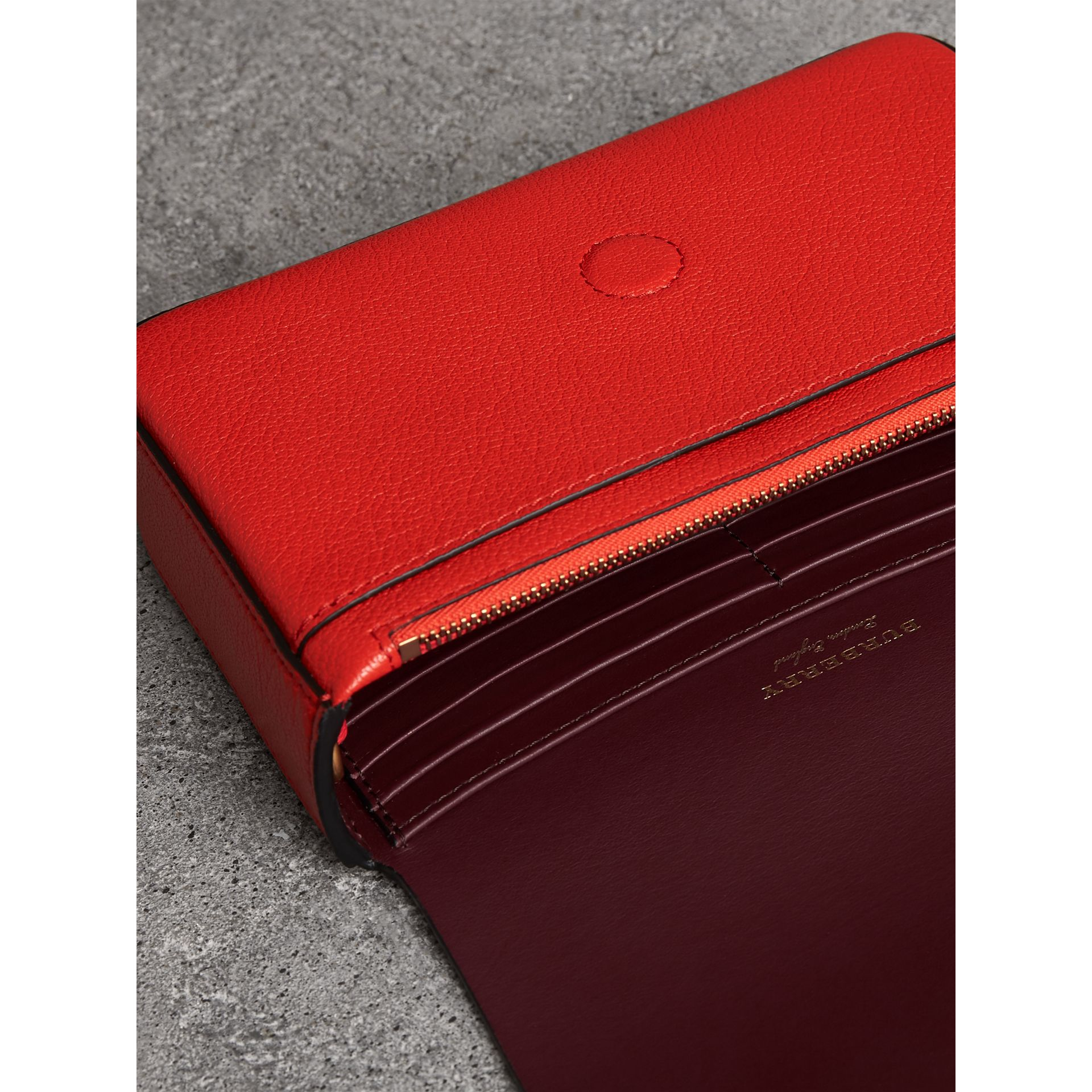 Equestrian Shield Leather Wallet with Detachable Strap in Bright Red - Women | Burberry - gallery image 5