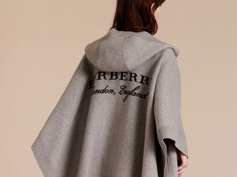 Wool Cashmere Blend Hooded Poncho in Mid Grey Melange - Women | Burberry - cell image 4