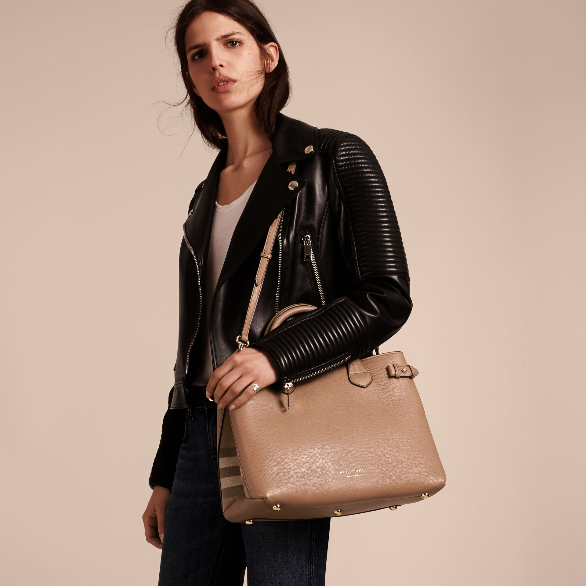 The Medium Banner in Leather and House Check in Dark Sand - Women | Burberry Australia - gallery image 4