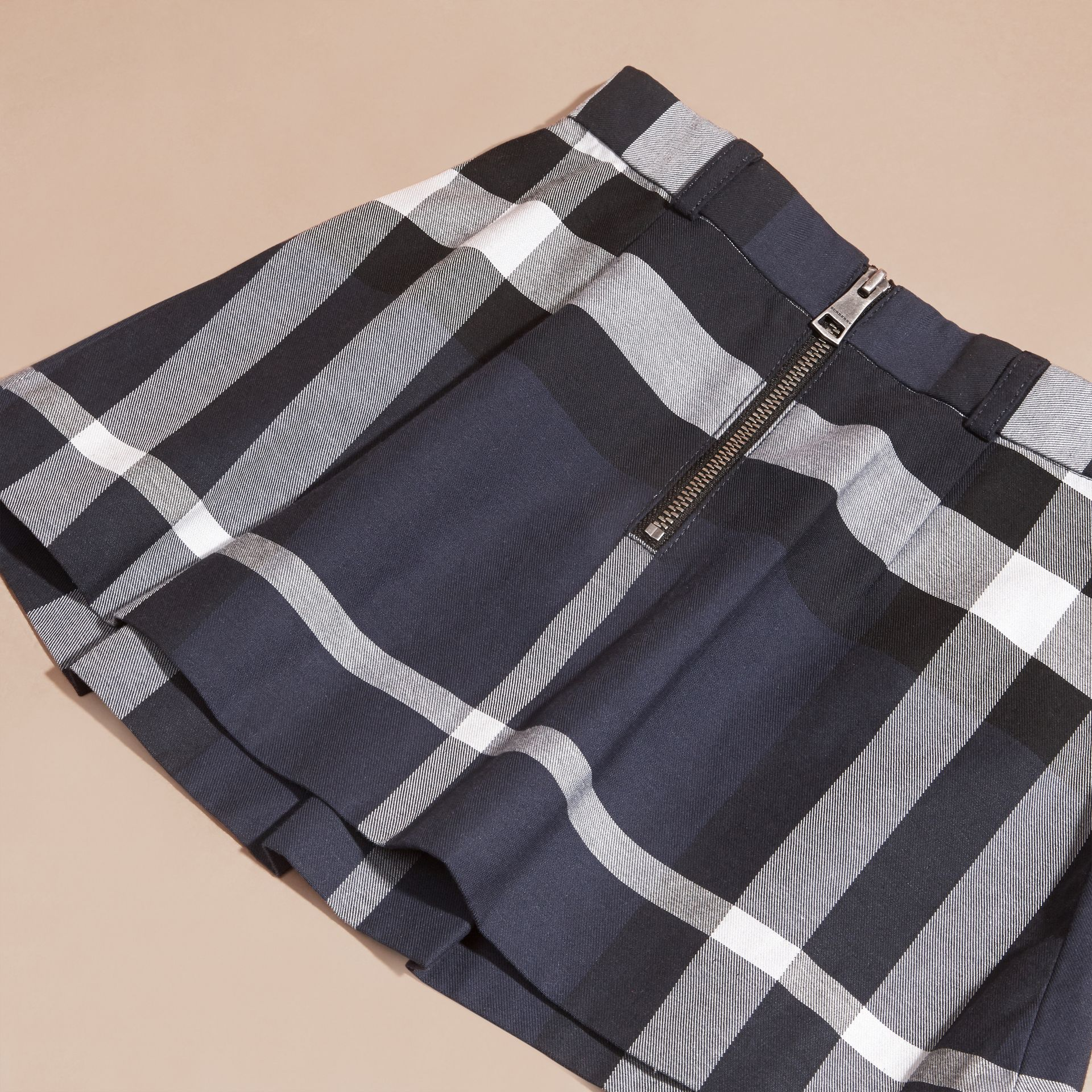 Pleated Check Cotton Skirt Navy - gallery image 2