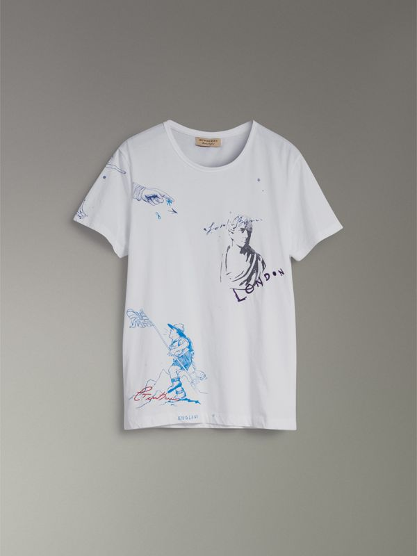 Sketch Print Cotton T-shirt in White - Men | Burberry Australia - cell image 3