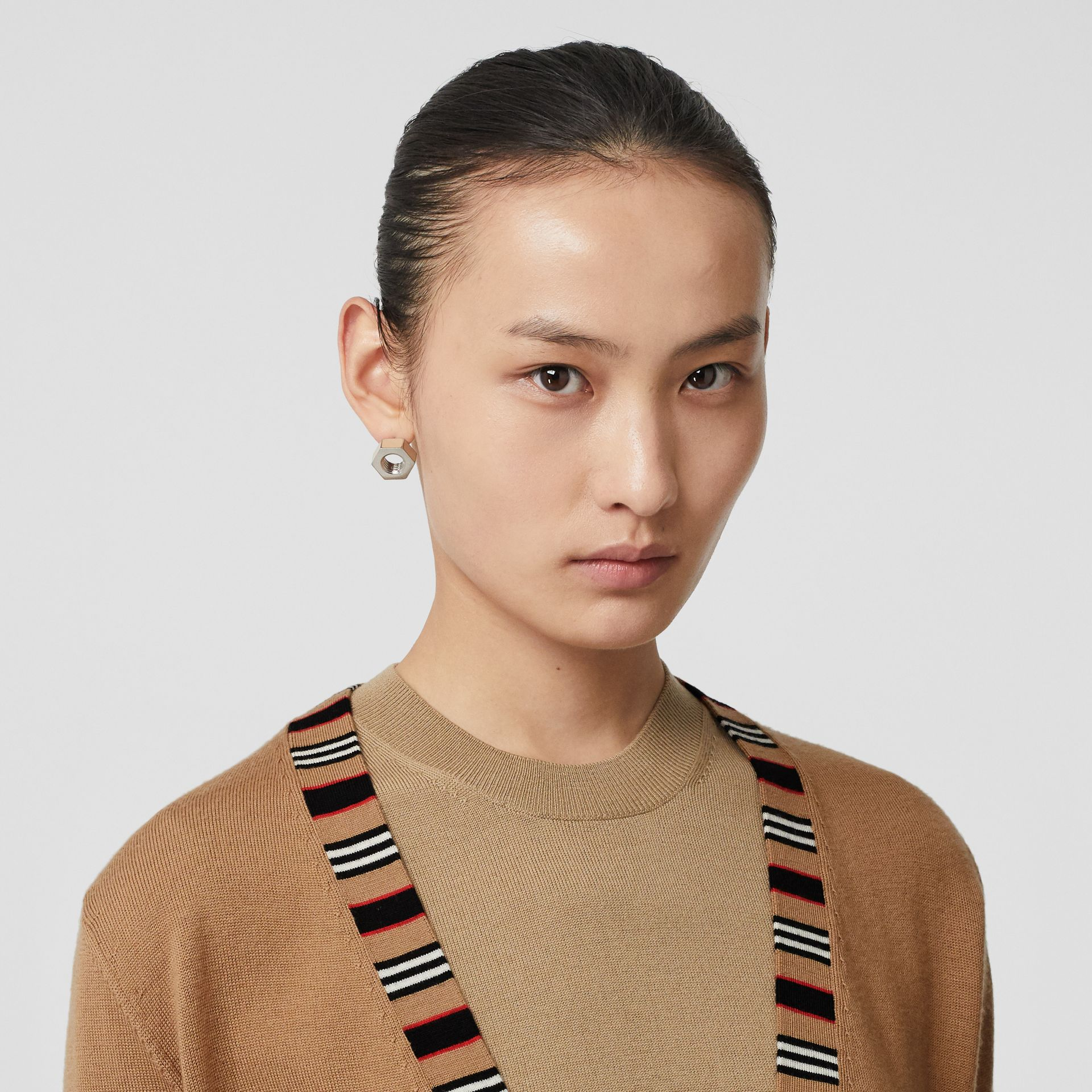 Icon Stripe Detail Merino Wool Cardigan in Camel - Women | Burberry - gallery image 4