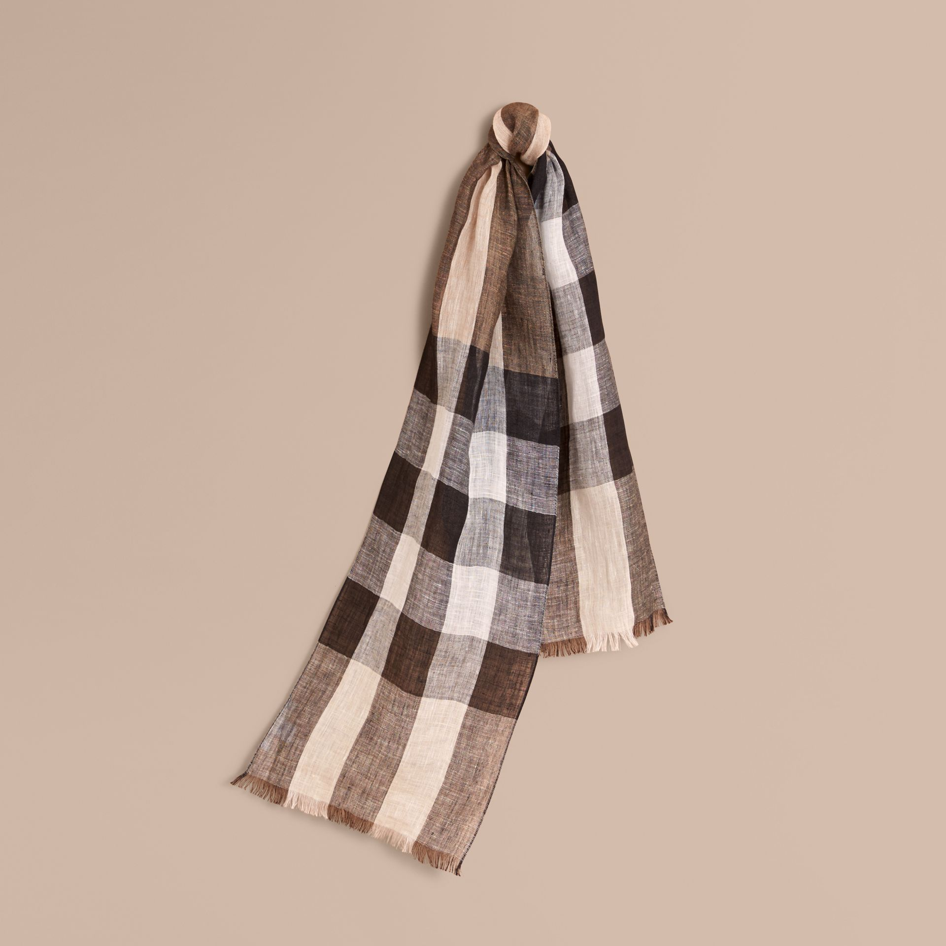 Lightweight Exploded Check Linen Scarf in Camel - gallery image 1