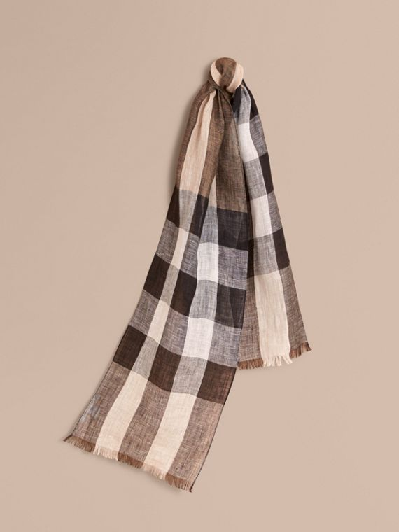 Lightweight Exploded Check Linen Scarf in Camel
