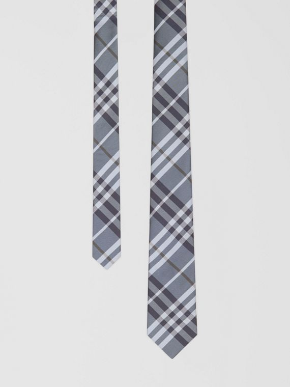 Classic Cut Vintage Check Silk Tie in Chalk Blue