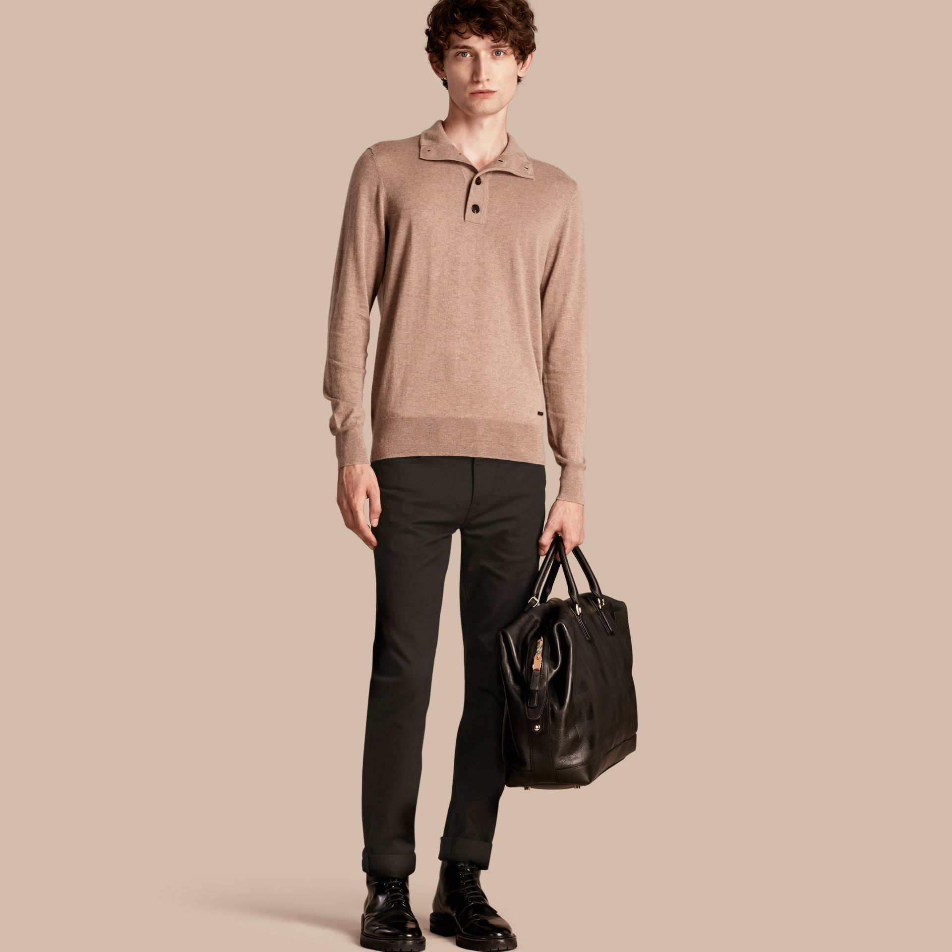 Stone Funnel Neck Cashmere Silk Sweater - gallery image 1