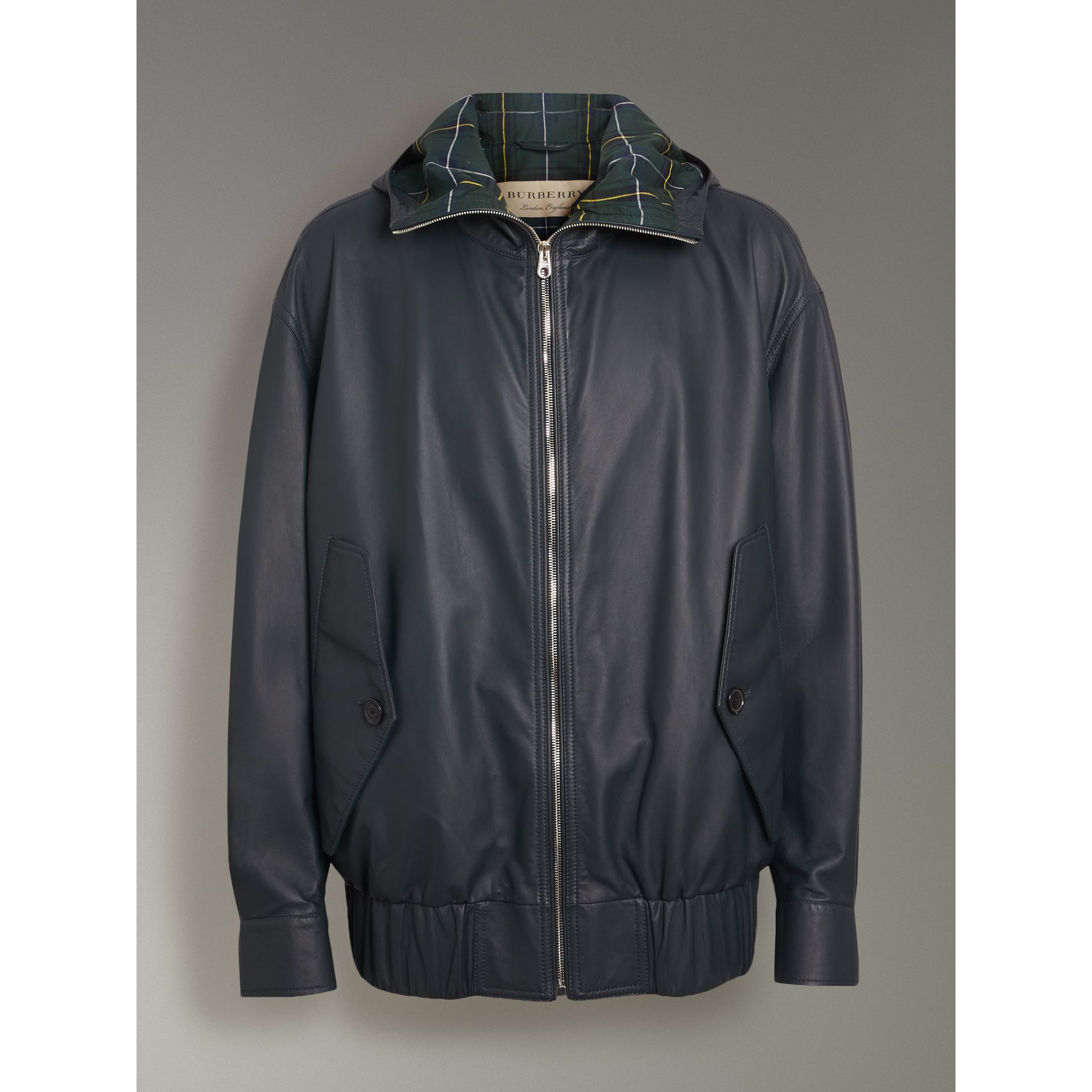 Hooded Lambskin Bomber Jacket in Navy - Men | Burberry - gallery image 3