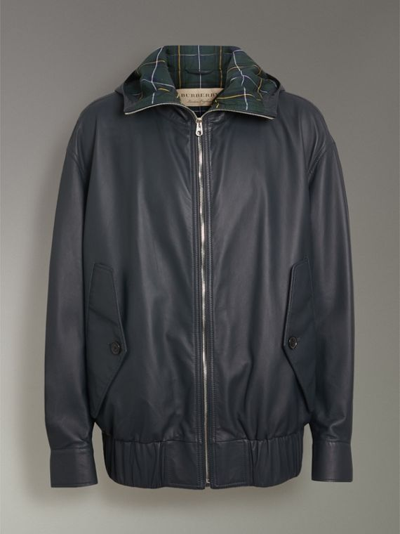 Hooded Lambskin Bomber Jacket in Navy - Men | Burberry - cell image 3