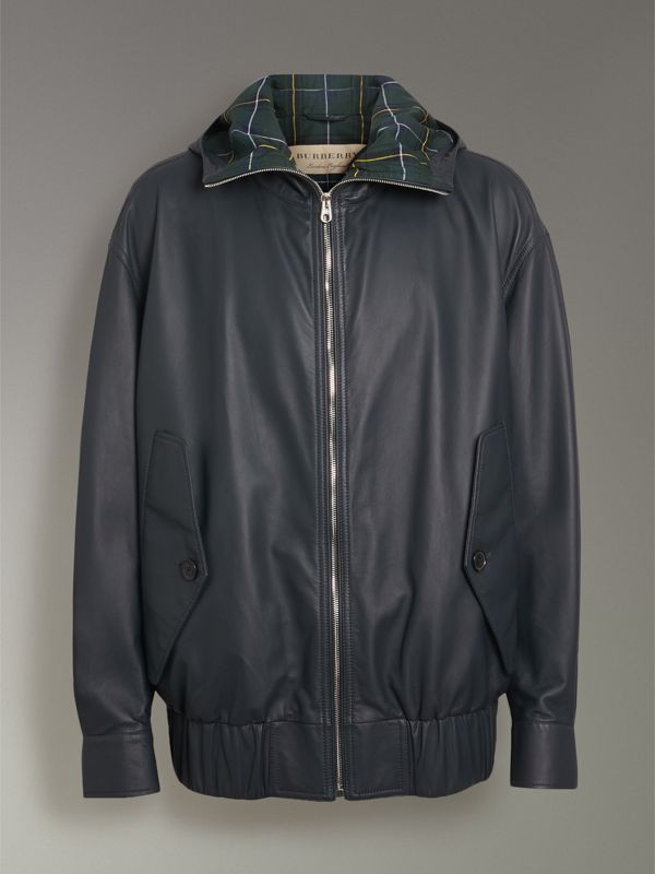 Hooded Lambskin Bomber Jacket in Navy - Men | Burberry Singapore - cell image 3