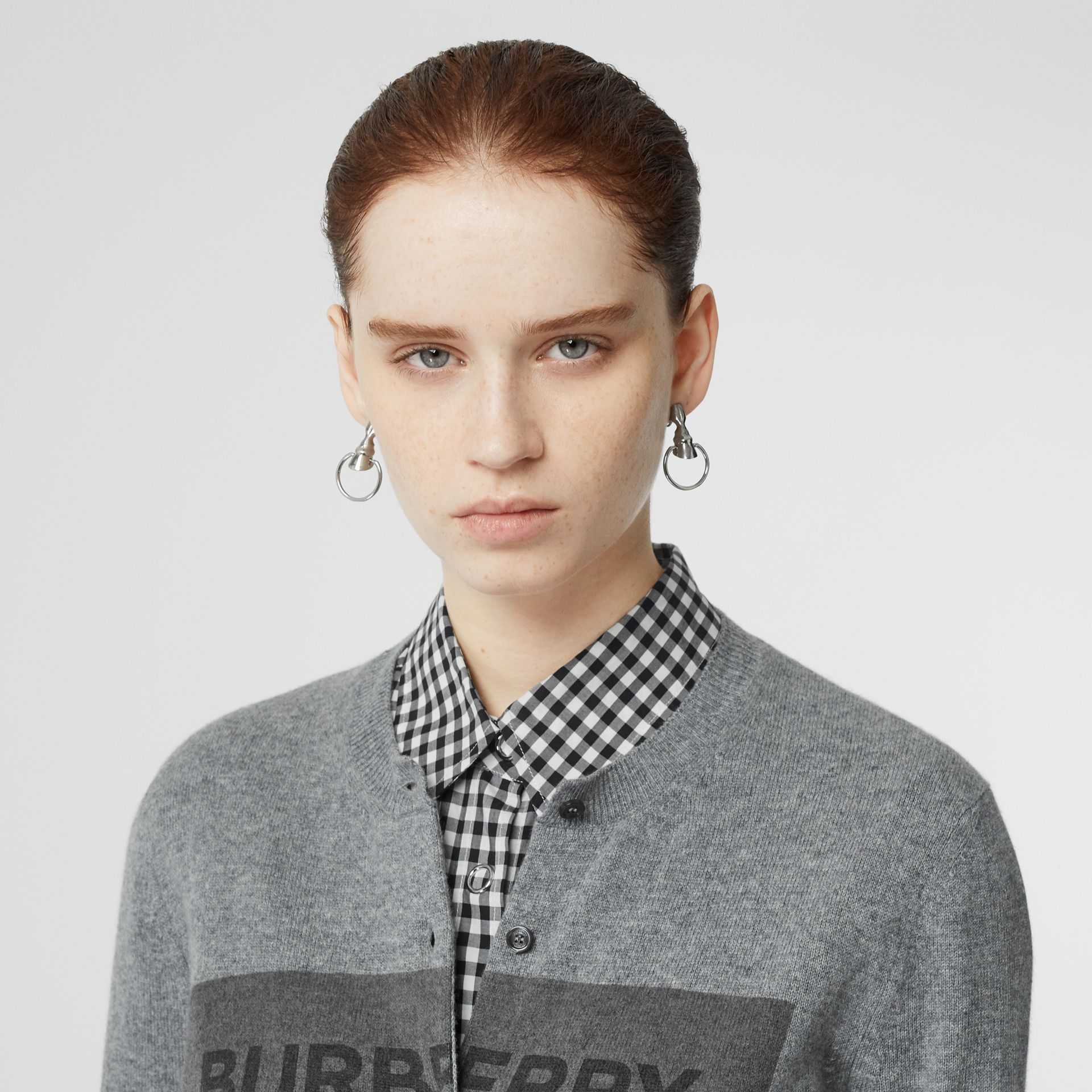 Logo Detail Cashmere Cardigan in Grey - Women | Burberry United States - gallery image 1