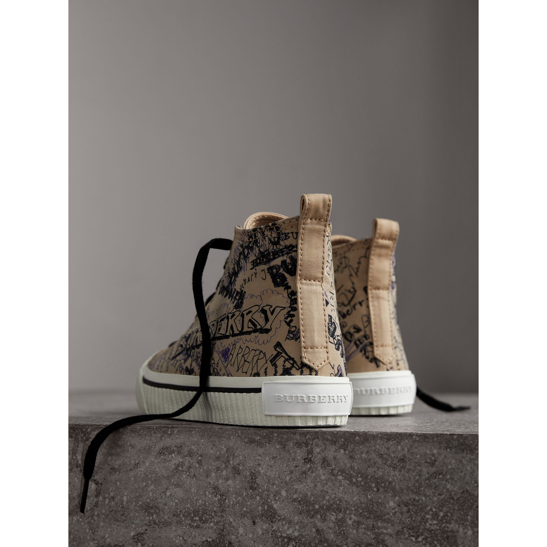 Doodle Print Cotton Gabardine High-top Trainers in Honey - Women | Burberry - gallery image 3
