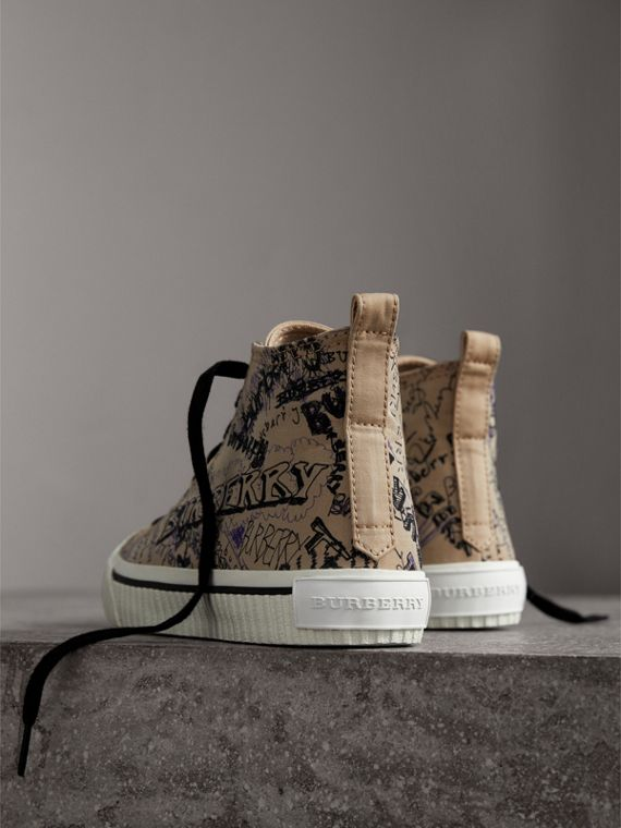 Doodle Print Cotton Gabardine High-top Trainers in Honey - Women | Burberry - cell image 3