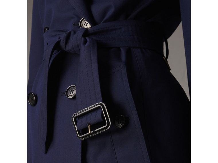 Cotton Gabardine Trench Coat in Blueberry - Women | Burberry - cell image 4