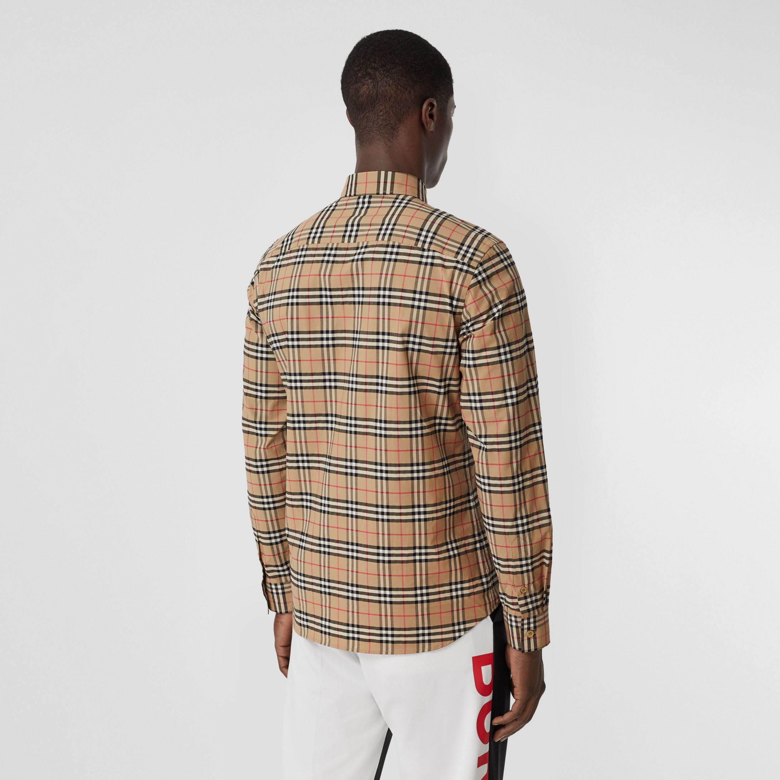 Small Scale Check Stretch Cotton Shirt in Archive Beige - Men | Burberry - 3