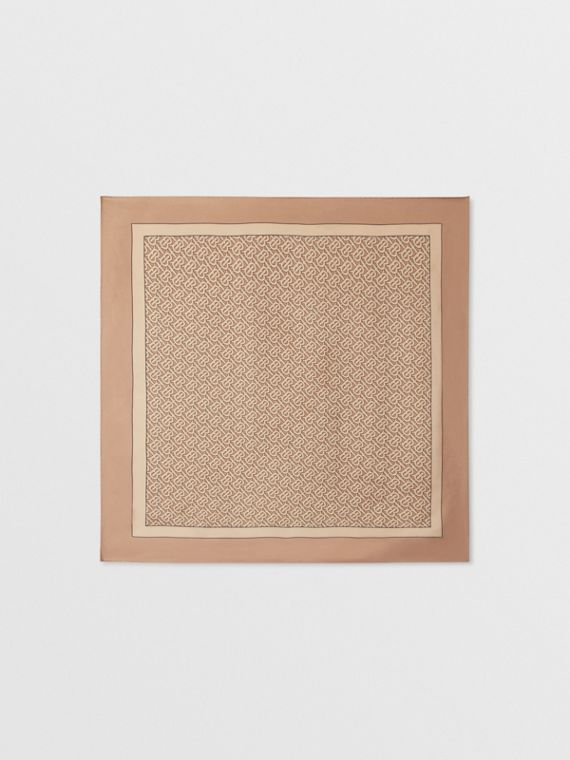 Monogram Print Silk Square Scarf in Pale Camel