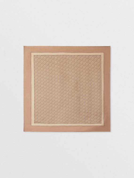 Шелковый платок с принтом в виде монограммы (Бледно-песочный)