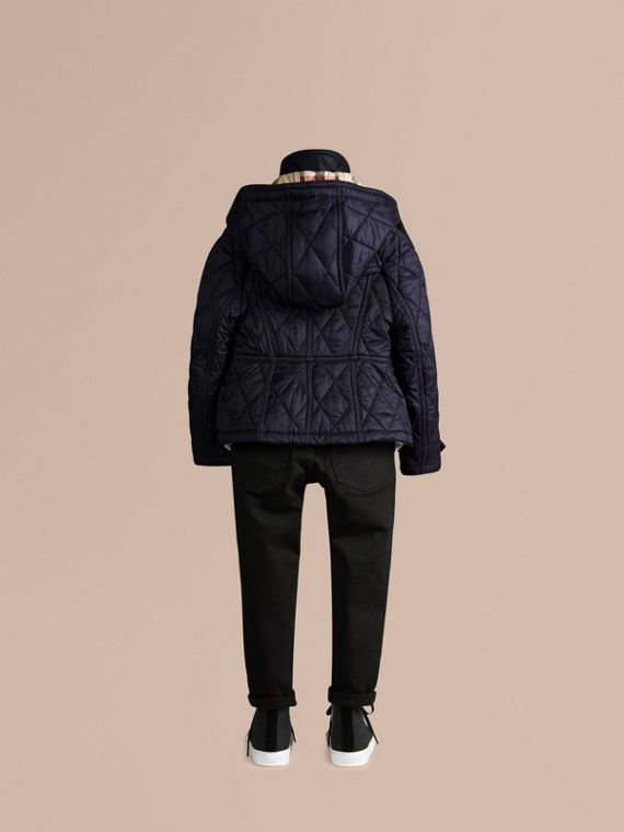 Military navy Check-lined Quilted Jacket - cell image 3