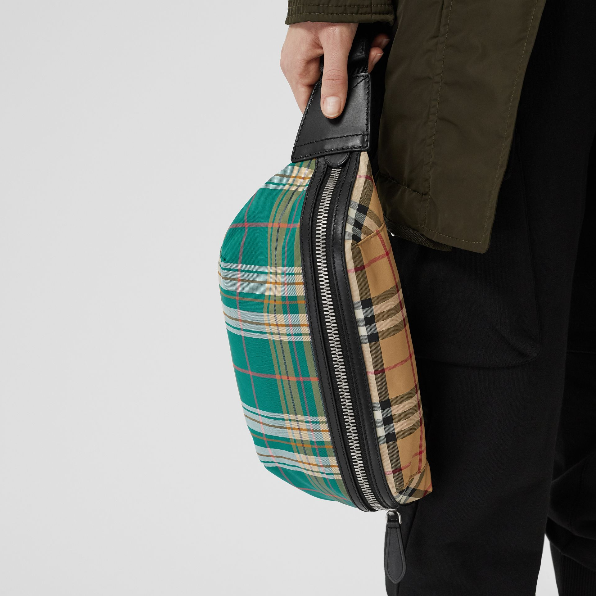 Medium Vintage Check and Tartan Bum Bag in Pine Green | Burberry Australia - gallery image 2