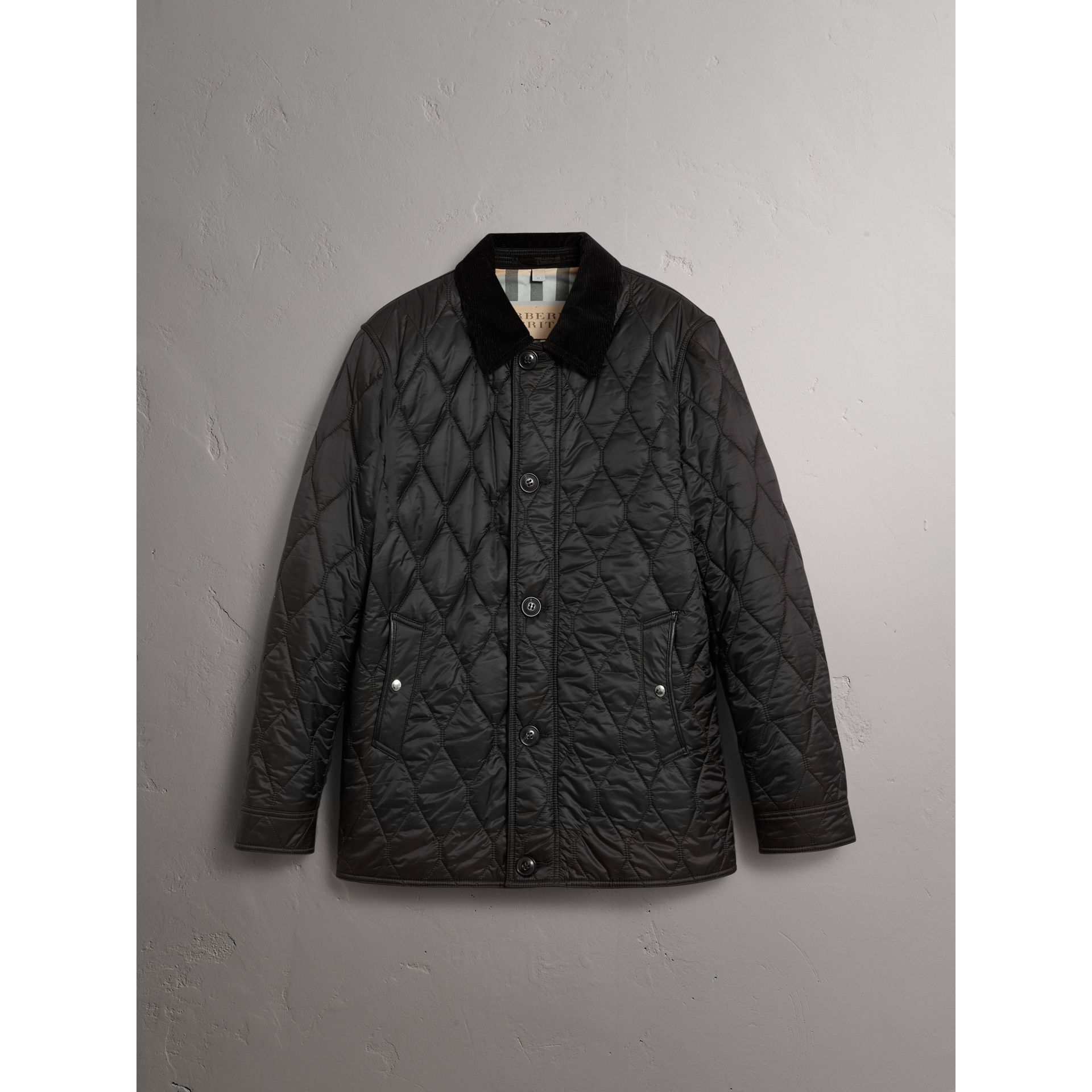 Check Detail Quilted Jacket with Corduroy Collar in Black - Men | Burberry - gallery image 3