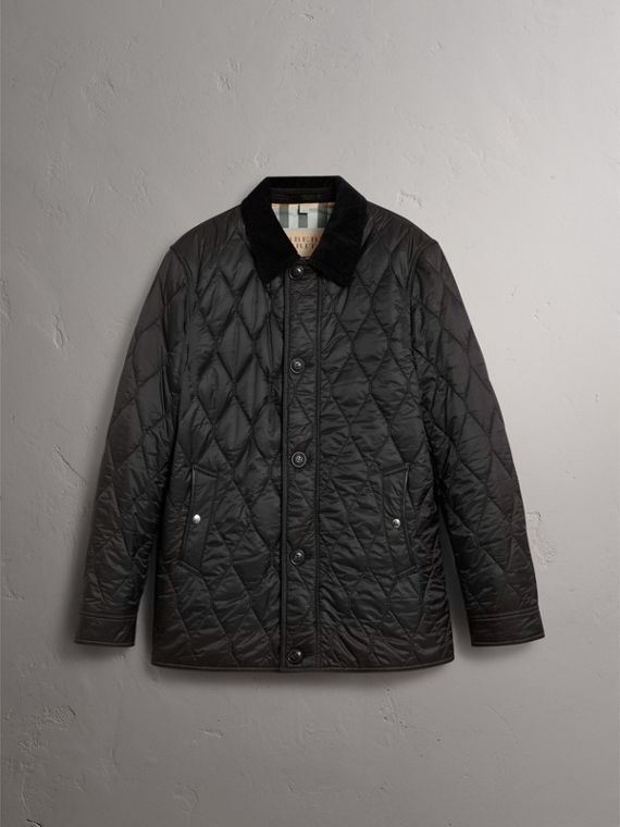 Check Detail Quilted Jacket with Corduroy Collar in Black - Men | Burberry - cell image 3