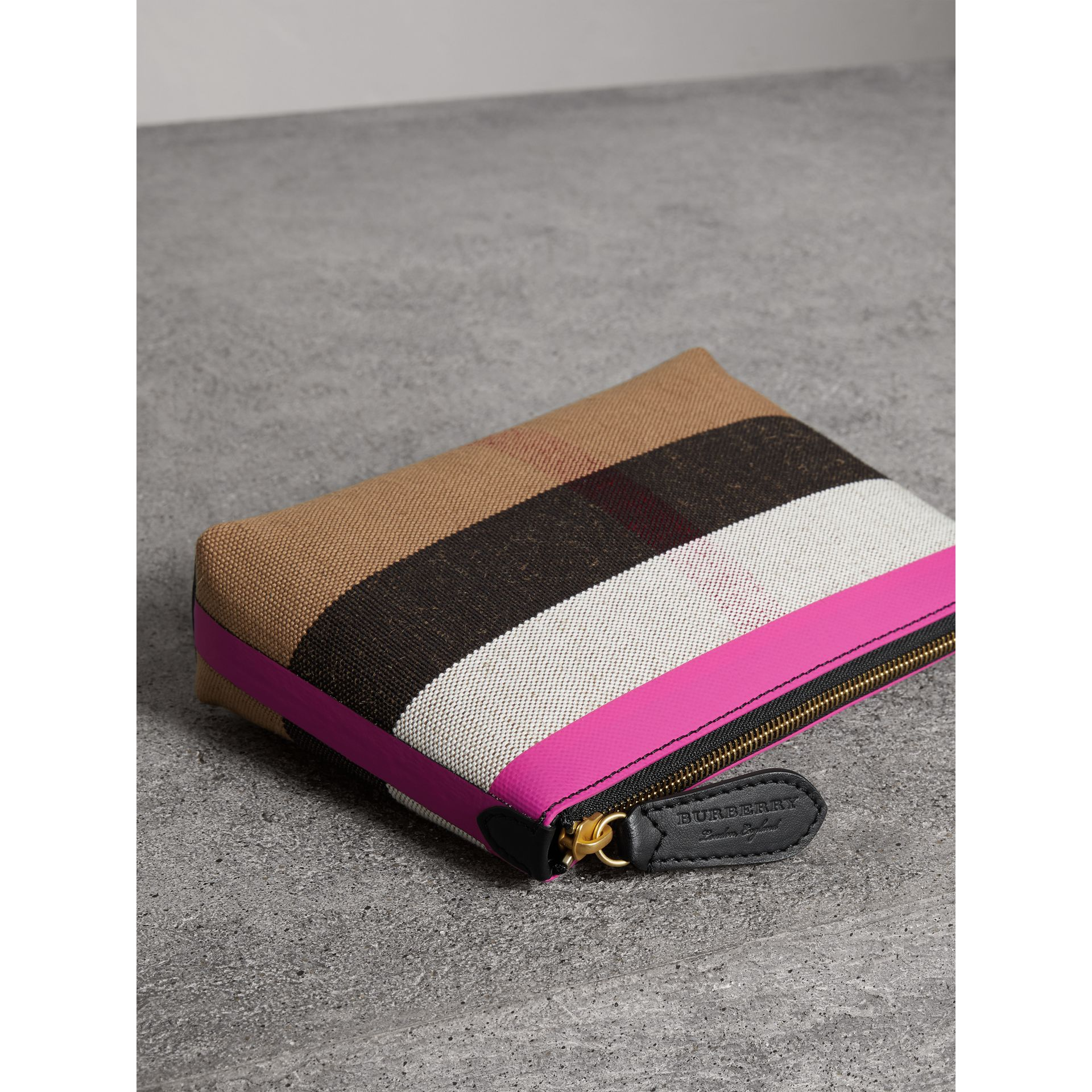 Medium Check Canvas and Leather Zip Pouch in Black/neon Pink - Women | Burberry - gallery image 4