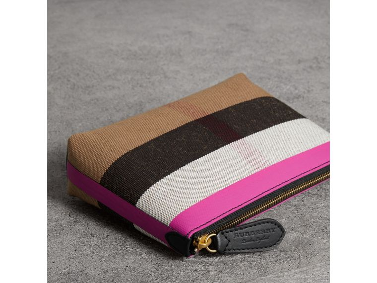 Medium Check Canvas and Leather Zip Pouch in Black/neon Pink - Women | Burberry Australia - cell image 4