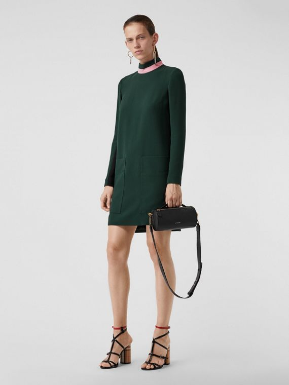 Two-tone Silk Wool Shift Dress in Dark Forest Green