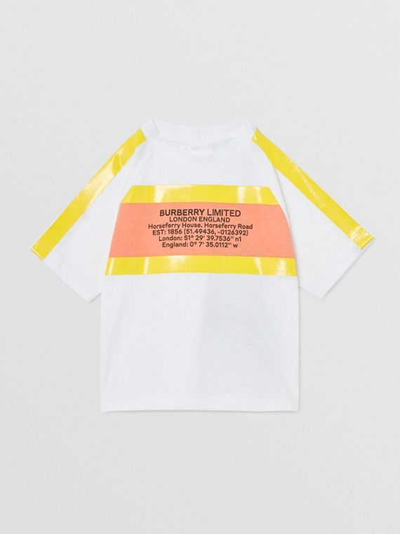 Tape Detail Location Print Cotton T-shirt in Yellow