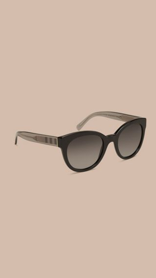 Check Detail Oval Polarised Sunglasses