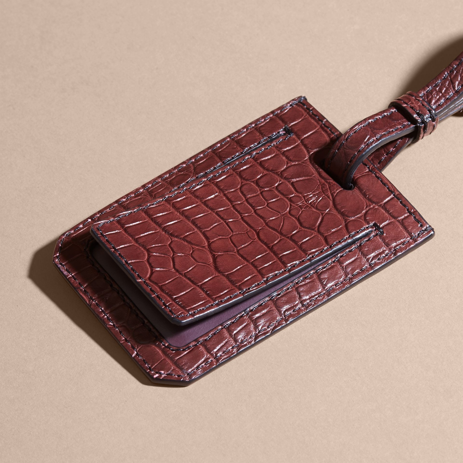 Alligator Luggage Tag in Deep Claret | Burberry - gallery image 4