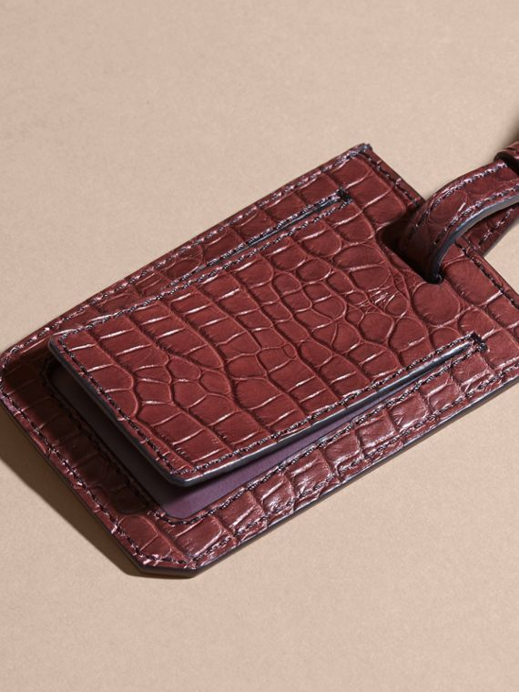 Alligator Luggage Tag in Deep Claret | Burberry - cell image 3