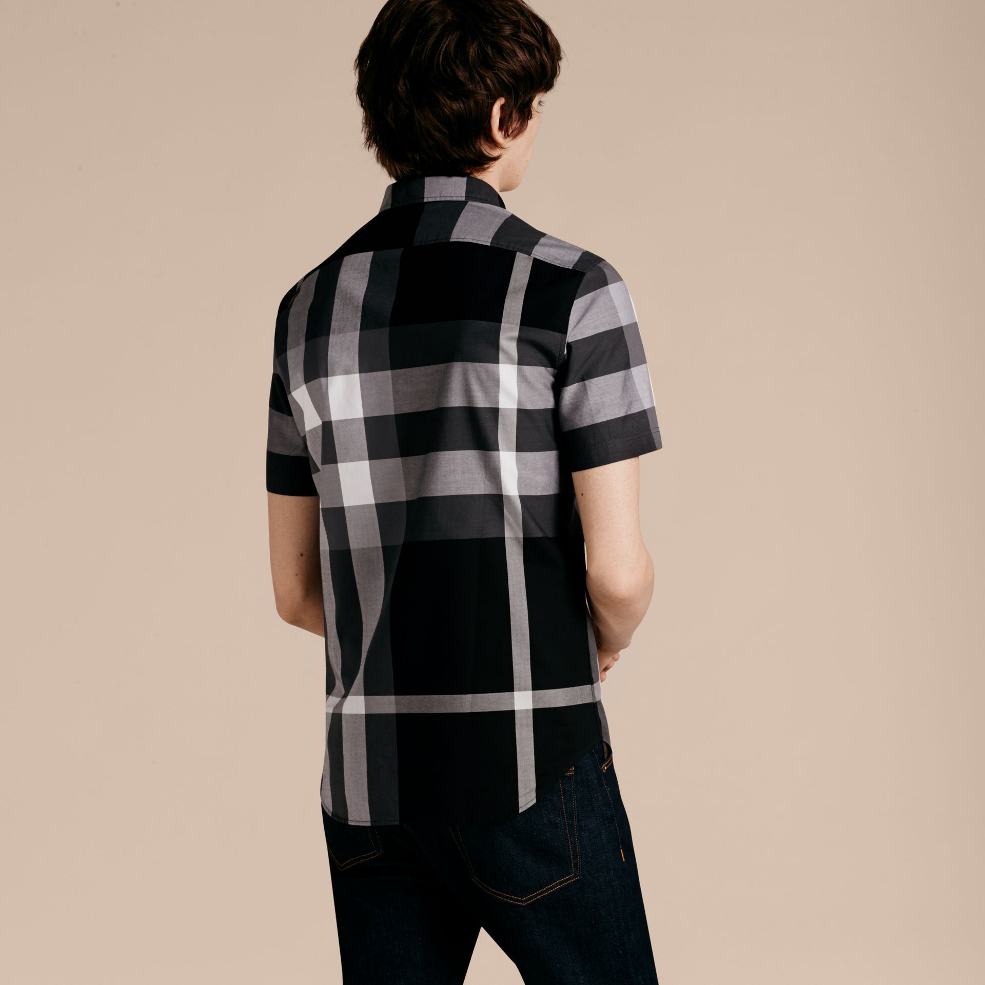 Black Short-sleeved Check Cotton Shirt Black - gallery image 3