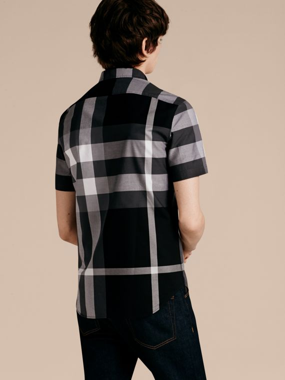 Black Short-sleeved Check Cotton Shirt Black - cell image 2
