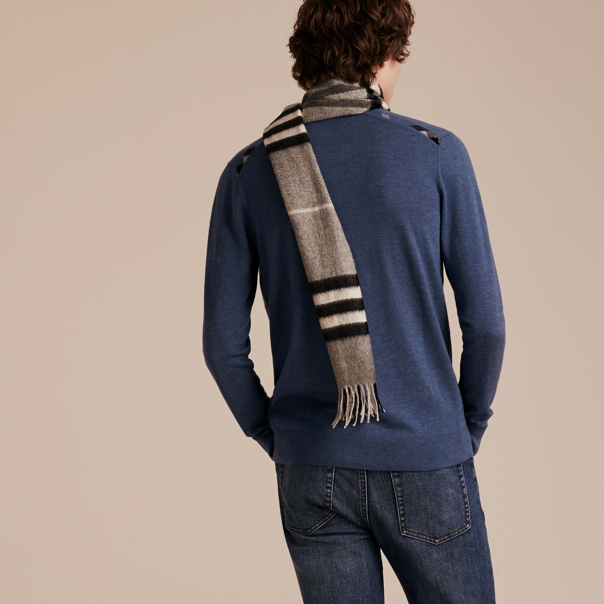 Lightweight Crew Neck Cashmere Sweater with Check Trim Dusty Blue - gallery image 3