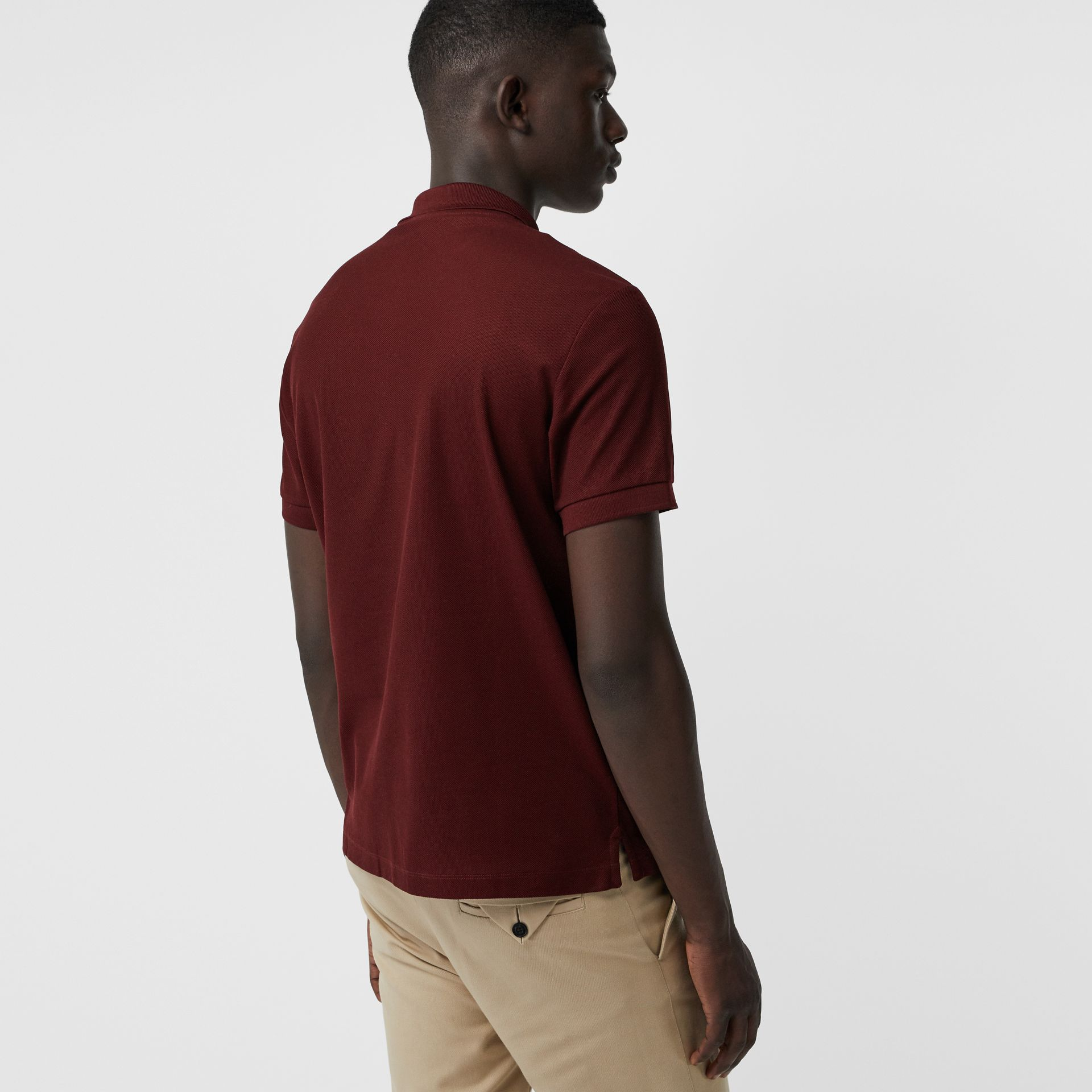 Archive Logo Cotton Piqué Polo Shirt in Burgundy - Men | Burberry Australia - gallery image 2