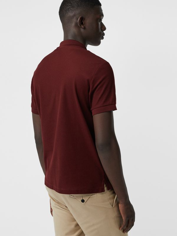 Archive Logo Cotton Piqué Polo Shirt in Burgundy - Men | Burberry Australia - cell image 2