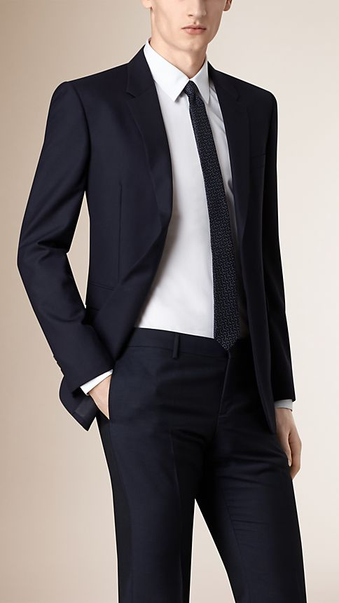 Navy Modern Fit Wool Part-canvas Jacket - Image 2