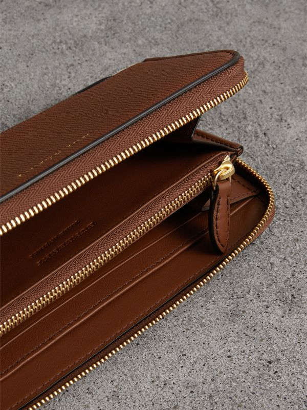 House Check and Leather Ziparound Wallet in Brown Ochre - Women | Burberry - cell image 3