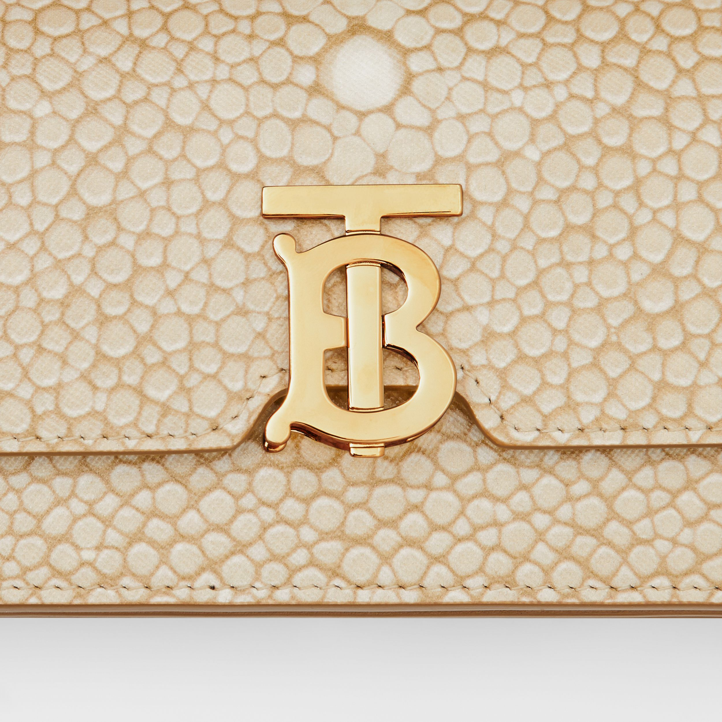 Mini Fish-scale Print Leather Shoulder Bag in Light Sand - Women | Burberry - 2