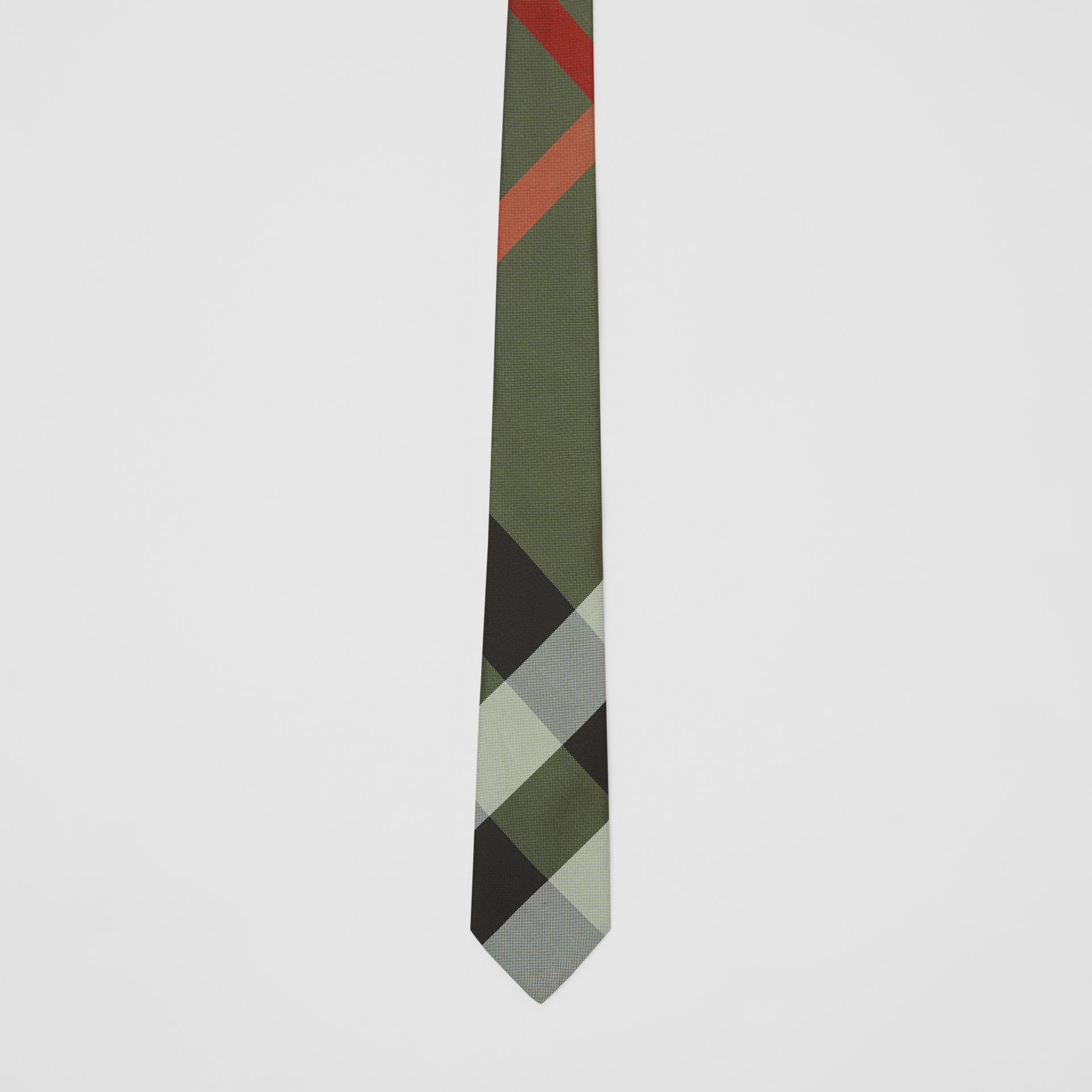 Modern Cut Oversized Check Silk Tie in Utility Green - Men | Burberry United States - gallery image 3