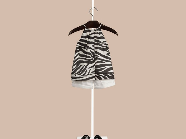 Black / white Animal Print Pintuck Detail Cotton Top - cell image 1