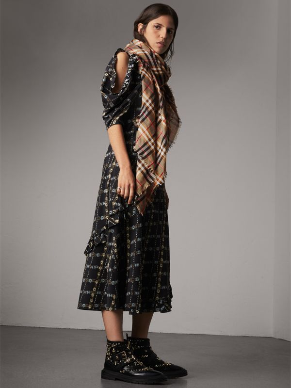 Check Modal and Wool Square Scarf in Camel | Burberry - cell image 2
