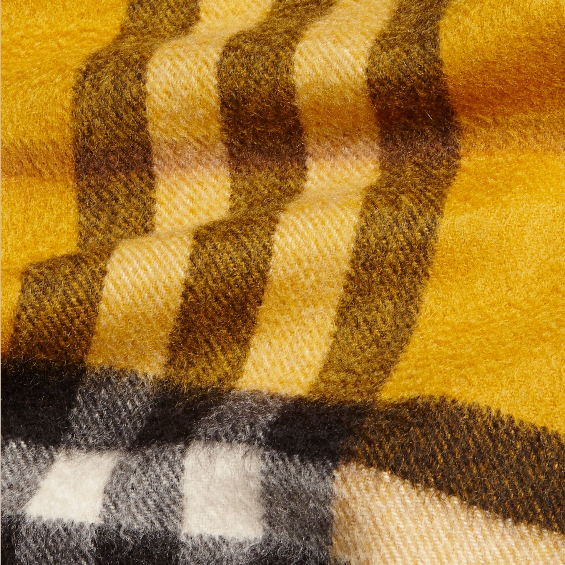 Amber yellow The Mini Classic Cashmere Scarf in Check - gallery image 4