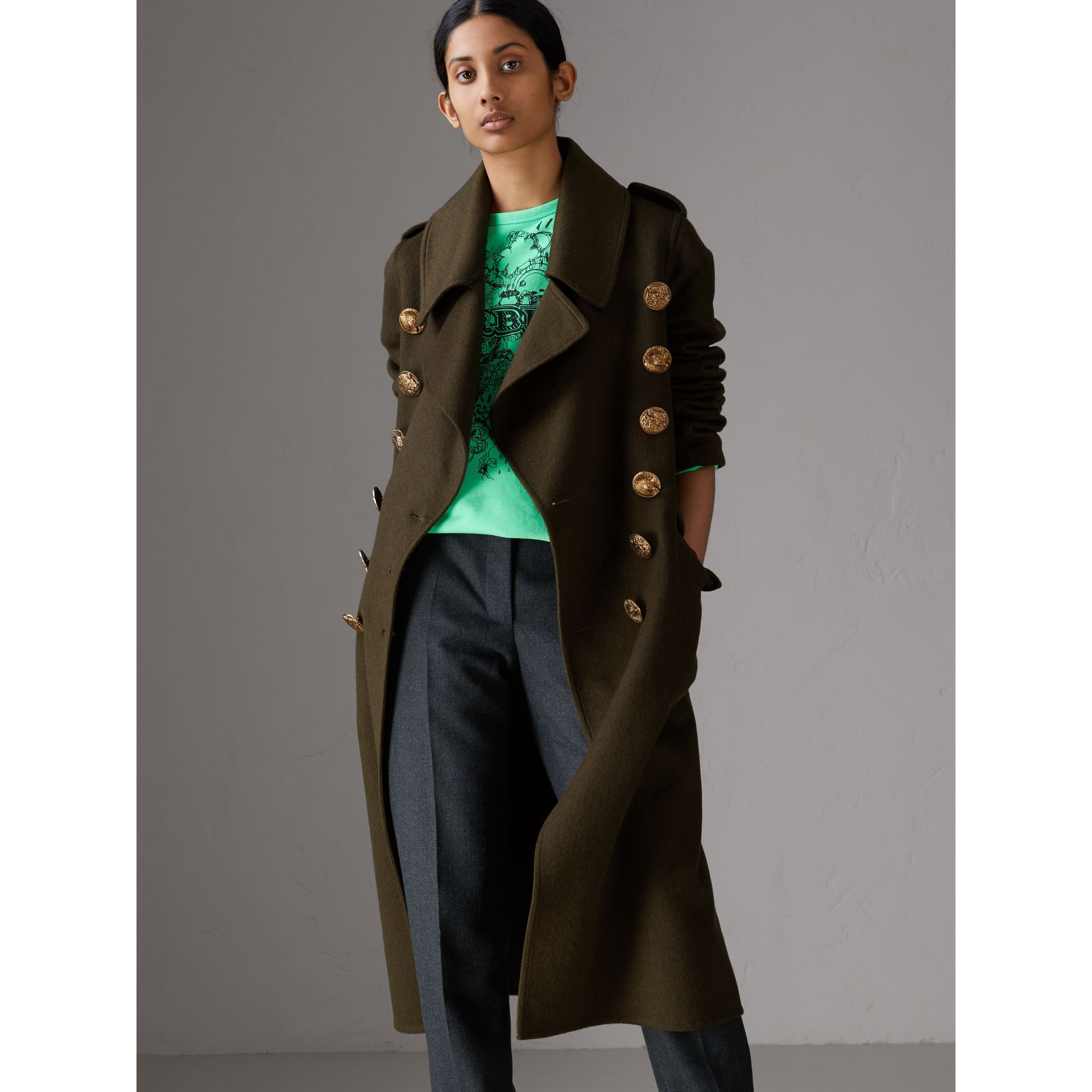 Bird Button Cashmere Wool Military Coat in Dark  Green - Women | Burberry Canada - gallery image 5