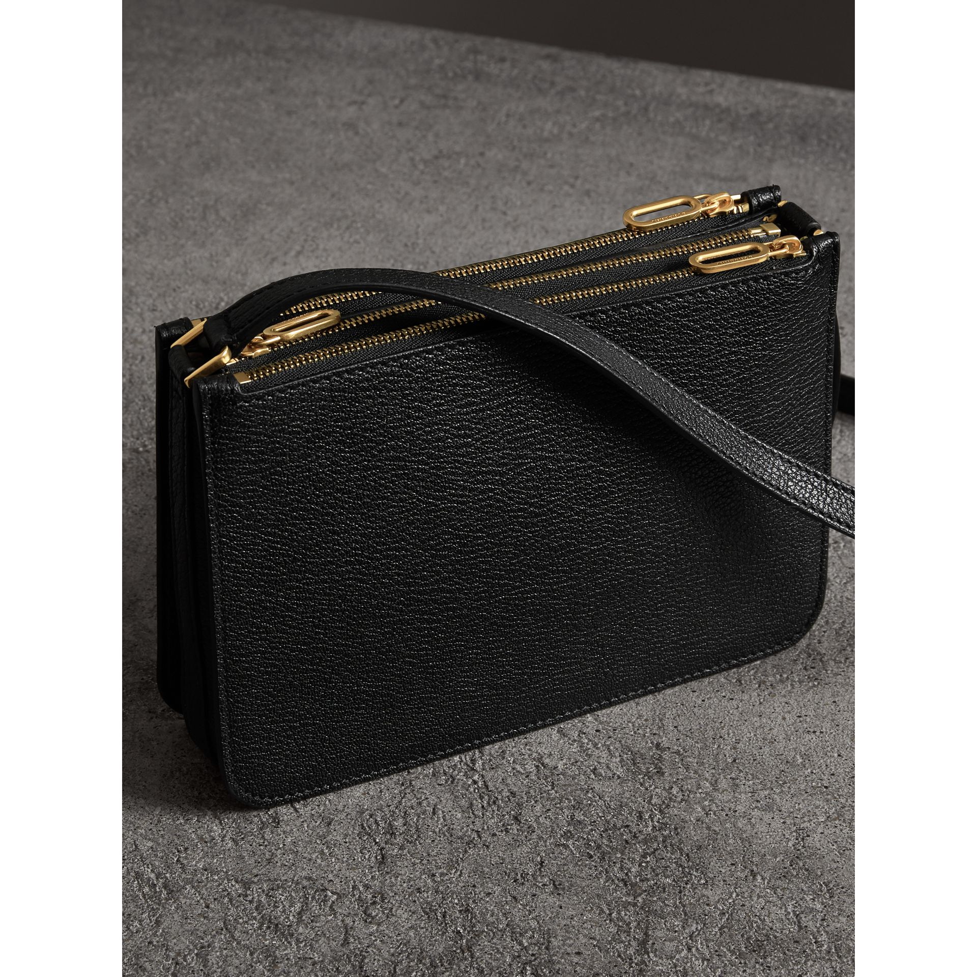 Triple Zip Grainy Leather Crossbody Bag in Black/gold - Women | Burberry - gallery image 4