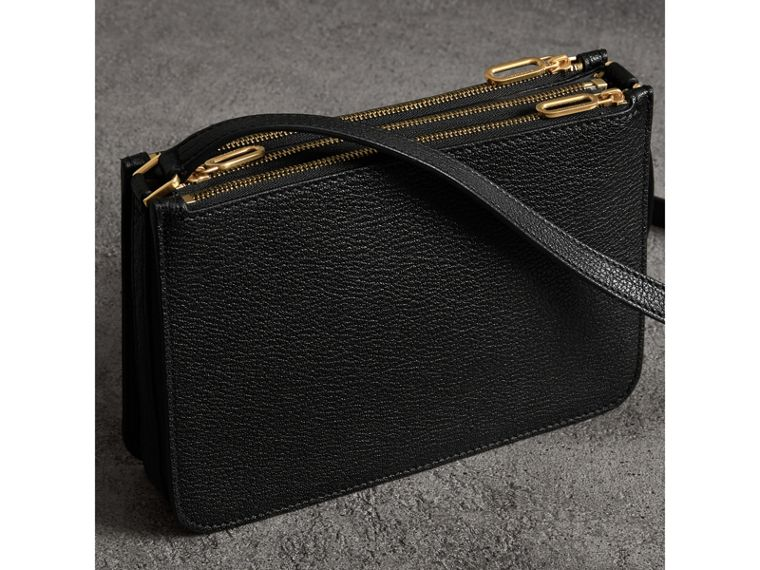 Triple Zip Grainy Leather Crossbody Bag in Black/gold - Women | Burberry - cell image 4