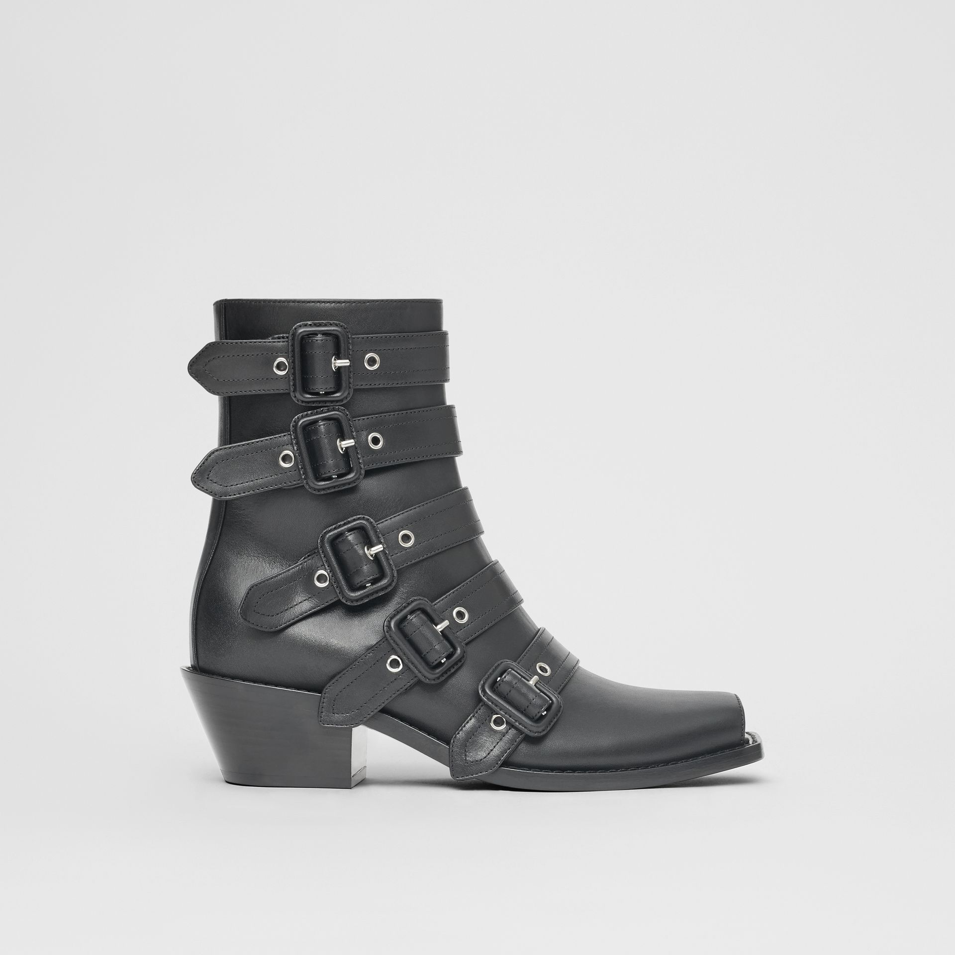 Buckled Leather Peep-toe Ankle Boots in Black - Women | Burberry - gallery image 4